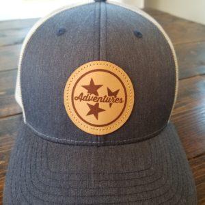 Navy Tristar Leather Patch Trucker Cap Adventures