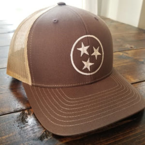 Brown and Khaki Tristar Hat 1